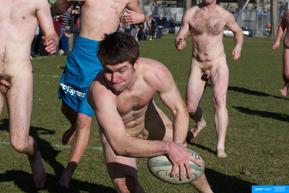 The' Nude Blacks' score a try during the 'Nude Blacks' versus a Fijian invitation side played at Logan Park, Dunedin as an unofficial curtain raiser match before the New Zealand V Fiji test match in Dunedin, New Zealand...The 'Nude Blacks' won the match 20-10 with 21 year old female player Rachel Scott, a member of the Otago women's rugby team named player of the day. .Over 500 people turned up to watch the match which included a blind referee, Julie Woods and three clothed streakers who were ejected from the playing area..The 'Nude Blacks' traditionally play games before test matches in Dunedin and were using this match as a warm up for three nude games planned during the IRB Rugby World Cup in New Zealand with teams from Argentina, Italy, England and Ireland involved.  Matches will be played before World Cup games in Dunedin. New Zealand. 22nd July 2011. Photo Tim Clayton
