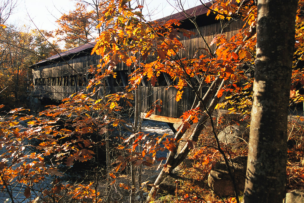 Albany covered bridge, New Hampshire in the fall.  New England, USA.