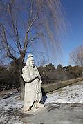 China, Beijing, Ming Dynasty Tombs, Changling Tomb, statues of a soldier lining the sacred way