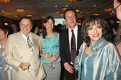 Left to right, BARRY HUMPHRIES, SAMANTHA CAMERON, DAVID CAMERON MP and JOAN COLLINS at a party to celebrate the 180th Anniversary of The Spectator magazine, held at the Hyatt Regency London - The Churchill, 30 Portman Square, London on 7th May 2008.<br />