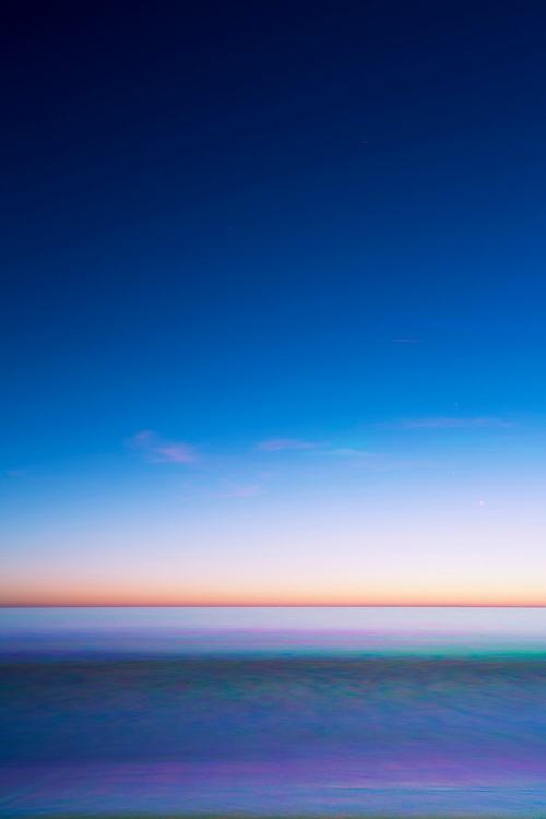 Santa Monica Color Experiments: these images explore a single hour of the sun setting over the ocean in Santa Monica California. By mixing the color from three different photographs I explore how we interpret the world through the camera and the photographic process. © 2014, Tom Turner Photography