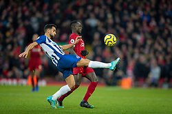 LIVERPOOL, ENGLAND - Saturday, November 30, 2019: Liverpool's Sadio Mané (R) and Brighton & Hove Albion's Martín Montoya during the FA Premier League match between Liverpool FC and Brighton & Hove Albion FC at Anfield. (Pic by David Rawcliffe/Propaganda)