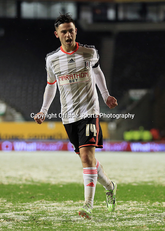13th January 2015 - FA Cup - 3rd Round Replay - Wolverhampton Wanderers v Fulham - Patrick Roberts of Fulham celebrates after scoring his penalty in the shootout - Photo: Simon Stacpoole / Offside.