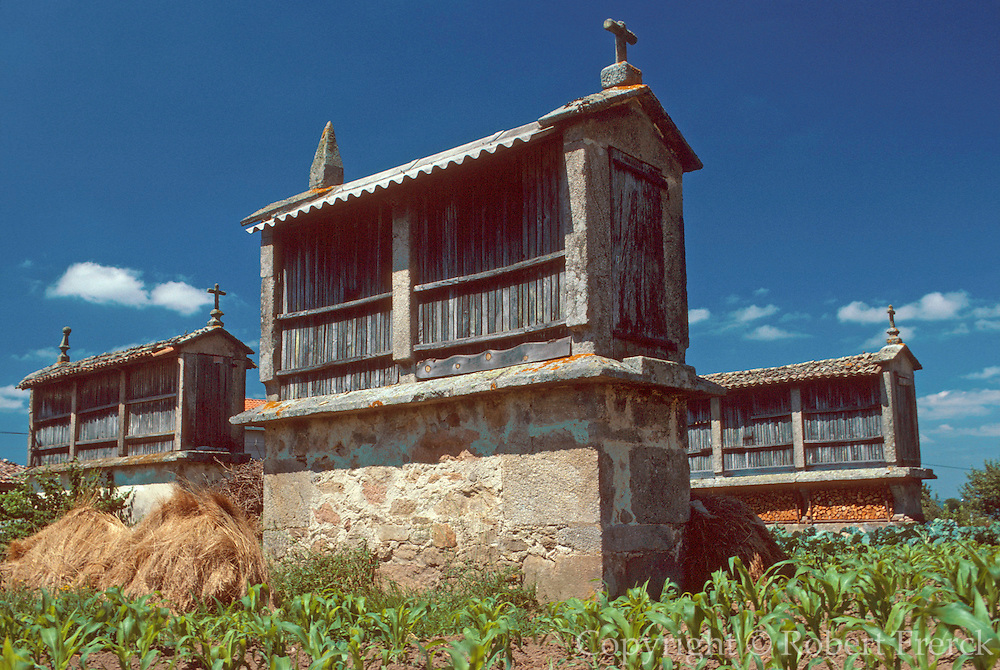 SPAIN, NORTH, GALICIA 'horreo' or traditional stone granary built on stilts to protect contents from rodents and moisture
