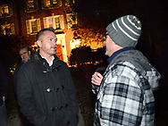 EDITORS PLEASE NOTE: WE WERE ONLY ALLOWED TO IDENTIFY AND SHOW FACES ON THREE OF THE MONITORS AND NOT ALLOWED TO IDENTIFY FRATERNITIES BY NAME: Danny Shaha (left), Interim Assistant Vice President - Student Rights & Responsibilitie speaks with Barry Bram about how the night is going as party monitors check in on fraternities and sororities at Penn State University Saturday, November 11, 2017 in State College, Pennsylvania. (Photo by William Thomas Cain/CAIN IMAGES)