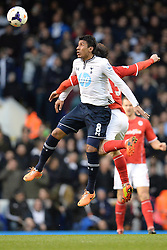 Tottenham's Paulinho and Cardiff's Kim Bo-Kyung  - Photo mandatory by-line: Mitchell Gunn/JMP - Tel: Mobile: 07966 386802 02/03/2014 - SPORT - FOOTBALL - White Hart Lane - London - Tottenham Hotspur v Cardiff City - Premier League