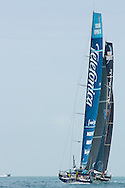 Telefonica and Abu Dhabi Ocean Racing during ProAm races at Volvo Ocean Race's 2011-2012 stopover in Miami.