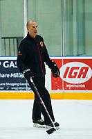 PENTICTON, CANADA - SEPTEMBER 8: Calgary Flames head coach Ryan Huska skates during morning practice on September 8, 2017 at the South Okanagan Event Centre in Penticton, British Columbia, Canada.  (Photo by Marissa Baecker/Shoot the Breeze)  *** Local Caption ***