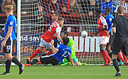 GOAL Ashley Eastham scores for Fleettwood 1-0  during the EFL Sky Bet League 1 match between Fleetwood Town and Rochdale at the Highbury Stadium, Fleetwood, England on 14 October 2017. Photo by Daniel Youngs.