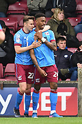 Scunthorpe United forward Ivan Toney (24) celebrates scoring goal with Scunthorpe United defender Conor Townsend (22) to go 2-0  during the EFL Sky Bet League 1 match between Scunthorpe United and Chesterfield at Glanford Park, Scunthorpe, England on 17 April 2017. Photo by Ian Lyall.