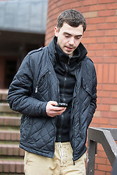© Licensed to London News Pictures . 05/12/2013 . Stockport , UK . LIAM CLIFF leaves Stockport Magistrates Court this morning (5th December 2013) . Cliff is charged with perverting the course of justice in relation to an FA computer hacking scandal . Photo credit : Joel Goodman/LNP