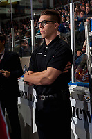 KELOWNA, CANADA - OCTOBER 13: Kelowna Rockets' equipment manager Chaydyn Johnson stands on the bench against the Calgary Hitmen on October 13, 2017 at Prospera Place in Kelowna, British Columbia, Canada.  (Photo by Marissa Baecker/Shoot the Breeze)  *** Local Caption ***