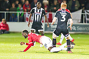 Grimsby Town defender Liam Gibson foul\Salford City forward Mani Dieseruvwe during the EFL Sky Bet League 2 match between Salford City and Grimsby Town FC at Moor Lane, Salford, United Kingdom on 17 September 2019.