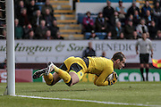 Tom Heaton (Burnley) makes a save during the Sky Bet Championship match between Burnley and Queens Park Rangers at Turf Moor, Burnley, England on 2 May 2016. Photo by Mark P Doherty.