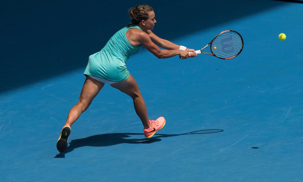 Barbora Strycova of the Czech Republic on day eight of the 2017 Australian Open at Melbourne Park on January 23, 2017 in Melbourne, Australia.<br /> (Ben Solomon/Tennis Australia)