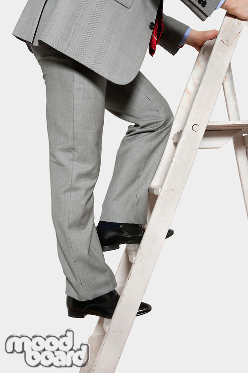 Low section view of a businessman climbing up a ladder