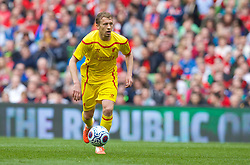 DUBLIN, REPUBLIC OF IRELAND - Wednesday, May 14, 2014: Liverpool's Lucas Leiva in action against Shamrock Rovers during a postseason friendly match at Lansdowne Road. (Pic by David Rawcliffe/Propaganda)