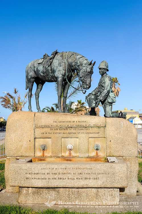 Port Elizabeth, South Africa. The Donkin Reserve was proclaimed by the founder of the city, Sir Rufane Donkin. Memorial of fallen horses.
