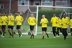 LIVERPOOL, ENGLAND - Wednesday, September 15, 2010: Liverpool's Glen Johnson, captain Steven Gerrard MBE, Fernando Torres, Paul Konchesky, Jay Spearing and David Ngog during a training session at Melwood Training Ground ahead of the opening UEFA Europa League Group K match against FC Steaua Bucuresti. (Photo by David Rawcliffe/Propaganda)