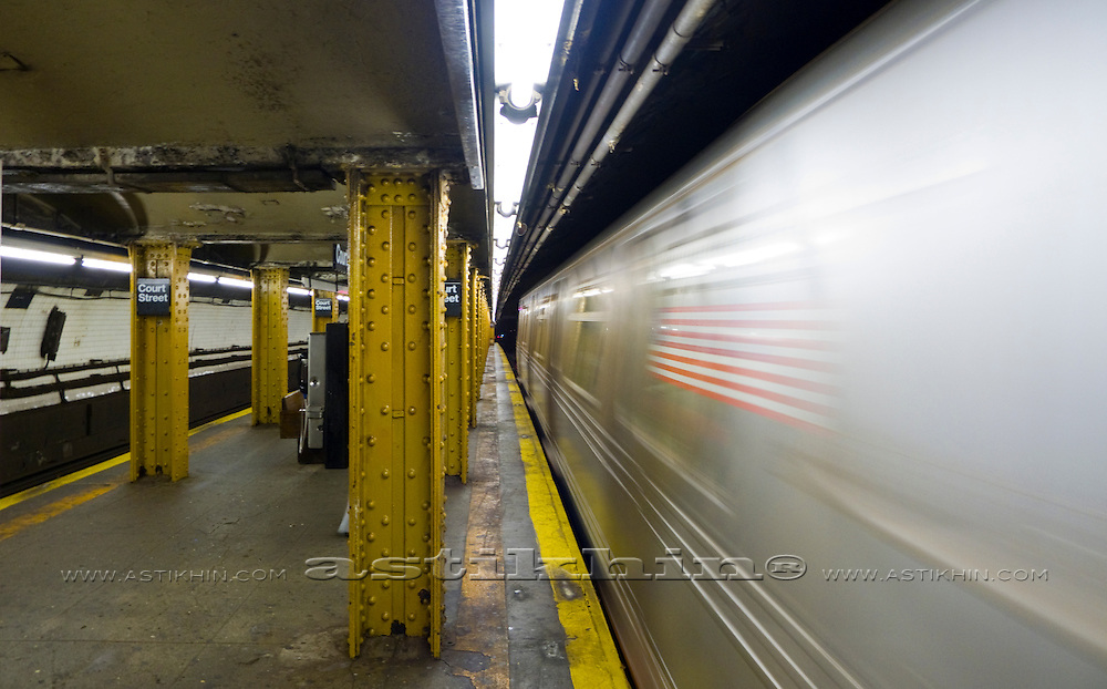 Subway train on Court Street Station in Brooklyn.