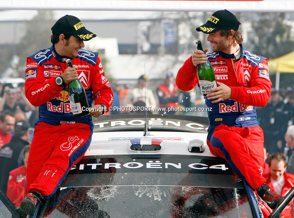 Winners Sebastien Loeb (FRA) (L) and co driver Daniel Elena (R).<br />Repco Rally of New Zealand, Day 3, SS16, Mystery Creek, Sunday 31 August 2008. Photo: Renee McKay/PHOTOSPORT