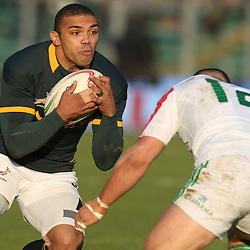 PADUA, ITALY - NOVEMBER 22: Bryan Habana of South Africa looks to get past Luca Morisi of Italy during the Castle Lager Outgoing Tour match between Italy and South African at Stadio Euganeo on November 22, 2014 in Padua, Italy. (Photo by Steve Haag/Gallo Images)