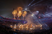 PYEONGCHANG-GUN, SOUTH KOREA - FEBRUARY 09: Fireworks during the Opening Ceremony of the PyeongChang 2018 Winter Olympic Games at PyeongChang Olympic Stadium on February 9, 2018 in Pyeongchang-gun, South Korea. Photo by Nils Petter Nilsson/Ombrello     ***BETALBILD***