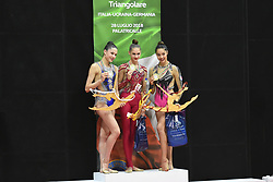 July 28, 2018 - Chieti, Abruzzo, Italy - Senior competition podium of the Rhythmic Gymnastics pre World Championship Italy-Ukraine-Germany at Palatricalle on 29th of July 2018 in Chieti Italy. (Credit Image: © Franco Romano/NurPhoto via ZUMA Press)