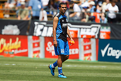 August 21, 2010; Santa Clara, CA, USA;  San Jose Earthquakes midfielder Geovanni Deiberson Maurico (77) warms up before the game against the Los Angeles Galaxy at Buck Shaw Stadium.