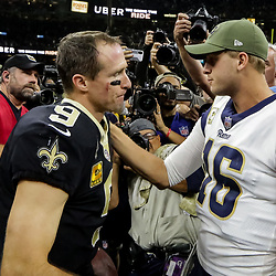 Nov 4, 2018; New Orleans, LA, USA; New Orleans Saints quarterback Drew Brees (9) and Los Angeles Rams quarterback Jared Goff (16) talk following a game at the Mercedes-Benz Superdome. Mandatory Credit: Derick E. Hingle-USA TODAY Sports