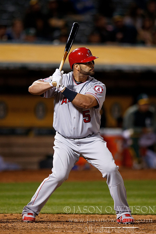 OAKLAND, CA - APRIL 04:  Albert Pujols #5 of the Los Angeles Angels of Anaheim at bat against the Oakland Athletics during the eighth inning at the Oakland Coliseum on April 4, 2017 in Oakland, California. The Los Angeles Angels of Anaheim defeated the Oakland Athletics 7-6. (Photo by Jason O. Watson/Getty Images) *** Local Caption *** Albert Pujols