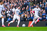 Leeds United midfielder Jack Harrison (22) and Leeds United defender Stuart Dallas (15) in action during the EFL Sky Bet Championship match between Leeds United and Huddersfield Town at Elland Road, Leeds, England on 7 March 2020.