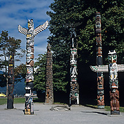 Totems in Stanley Park. Vancouver, BC. Canada