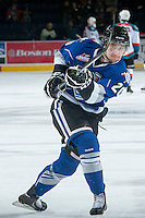 KELOWNA, CANADA -FEBRUARY 8: Logan Fisher #20 of the Victoria Royals takes a shot during warm up against the Kelowna Rockets on February 8, 2014 at Prospera Place in Kelowna, British Columbia, Canada.   (Photo by Marissa Baecker/Getty Images)  *** Local Caption *** Logan Fisher;