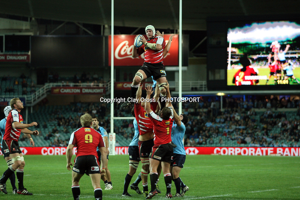 Wikus Van Heerden wins a line out. NSW Waratahs v Lions. Investec Super Rugby Round 14 Match, 21 May 2011. Sydney Football Stadium, Australia. Photo: Clay Cross / photosport.co.nz