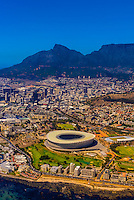 Aerial view, Cape Town Stadium, Central Business District with Table Mountain in background, Cape Town, South Africa.