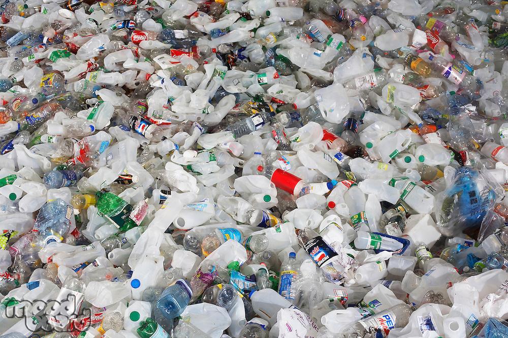 Pile of used plastic bottles full frame