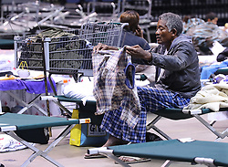 An elderly man drys out his clothes preparing to bed down for the night at the Red Cross shelter in the Albany Civic Center to ride out Hurricane Irma on Sunday, September 10, 2017, in Albany, Ga. Photo by Curtis Compton/Atlanta Journal-Constitution/TNS/ABACAPRESS.COM