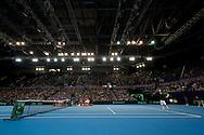 Andy Murray of Great Britain serves during the Davis Cup match by BNP Paribas between Great Britain and Japan at the National Indoor Arena, Birmingham.<br /> Picture by Russell Hart/Focus Images Ltd 07791 688 420<br /> 06/03/2016