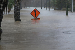 A submerged flooding sign Riverlaw Terrace, Beckenham after flooding from the Heathcote River, Christchurch, New Zealand, Saturday, July 22, 2017. Credit:  SNPA / David Alexander -NO ARCHIVING-