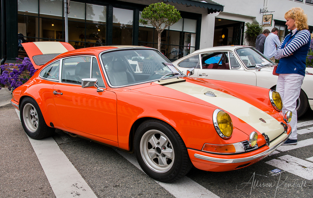 A vintage Porsche on display at the 2017 Carmel-by-the-Sea Concours on the Avenue