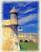 El Morro sentry box and lighthouse painting