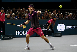November 3, 2018 - Paris, France - Japanese player KEI NISHIKORI returns the ball to Swiss player ROGER FEDERER during the quarter final of tournament Rolex Paris Master, at AccorHotel Arena Stadium in Paris - France..Roger Federer won 6-4 6-4 (Credit Image: © Pierre Stevenin/ZUMA Wire)