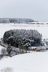 © Licensed to London News Pictures. 14/01/2015. Snowy landscape on the Mynydd Epynt range on high land. Snow fell last night in Mid-Wales and cold temperatures have prevented the snow from melting. Builth Wells, Powys , Wales, UK. Photo credit: Graham M. Lawrence/LNP