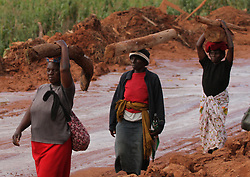 MANICALAND (ZIMBABWE), March 23, 2019  Villagers carry wood to rebuild their home in a village ravaged by Cyclone Idai in Chimanimani, Manicaland Province, Zimbabwe, March 23, 2019. Zimbabwe began two days of national mourning on Saturday in remembrance of the victims of Cyclone Idai which induced floods ravaging the eastern and southern parts of the country last weekend. The Civil Protection Unit said that as of Friday night, the death toll from Idai in Zimbabwe had risen to 154 with 187 still missing. A total of 162 people were injured while 136 were marooned. (Credit Image: © Shaun Jusa/Xinhua via ZUMA Wire)
