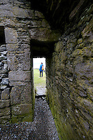 Interior of castle ruin on Inis Oirr Island the Aran Islands County Galway Ireland