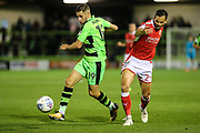 Forest Green Rovers William Randall(19) beats Swindon Town's Ben Purkiss(2) to the ball during the EFL Sky Bet League 2 match between Forest Green Rovers and Swindon Town at the New Lawn, Forest Green, United Kingdom on 22 September 2017. Photo by Shane Healey.
