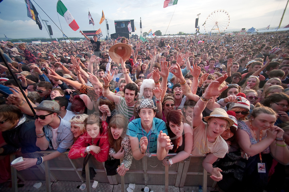 Music fans at the main stage during the 1st day of T In The Park Festival 2011 at Balado on July 8, 2011 in Kinross, United Kingdom.