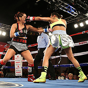 Noemi Bosques (L) eats a right hand against Nydia Feliciano during a Telemundo Boxeo boxing match at the A La Carte Pavilion on Friday,  March 13, 2015 in Tampa, Florida.  Feliciano won the bout by split decision. (AP Photo/Alex Menendez)
