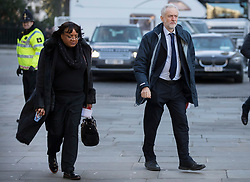 © Licensed to London News Pictures. 14/12/2017. London, UK. Labour Party Leader Jeremy Corbyn and Diane Abbott, Shadow Health Secretary, arrive at St Paul's Cathedral for the Grenfell Tower National Memorial Service mark the six month anniversary of the Grenfell Tower fire. The service is attended by survivors and relatives of those who lost their lives in the fire, as well as members of the emergency services and members of the Royal family. 71 people were killed when a huge fire ripped though 24-storey Grenfell Tower block in west London in June 2017. Photo credit: Peter Macdiarmid/LNP